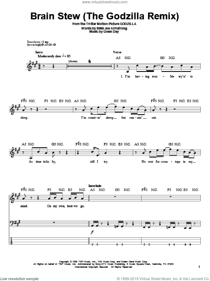 Brain Stew (The Godzilla Remix) sheet music for bass (tablature) (bass guitar) by Green Day and Billie Joe Armstrong. Score Image Preview.