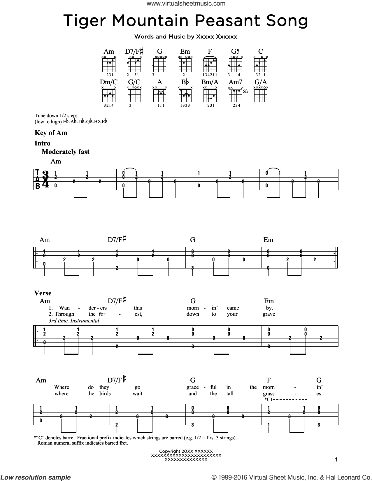 Tiger Mountain Peasant Song sheet music for guitar solo (lead sheet) by Fleet Foxes, intermediate guitar (lead sheet). Score Image Preview.