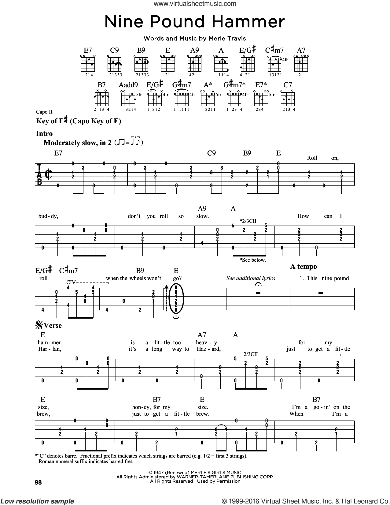 Nine Pound Hammer sheet music for guitar solo (lead sheet) by Merle Travis, intermediate guitar (lead sheet). Score Image Preview.
