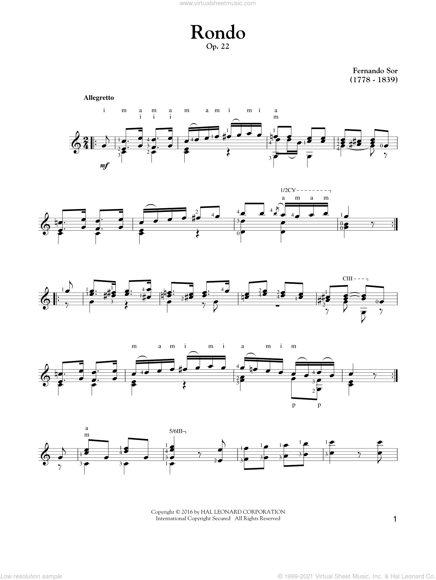 Rondo, Op. 22 sheet music for guitar solo by Fernando Sor, classical score, intermediate. Score Image Preview.