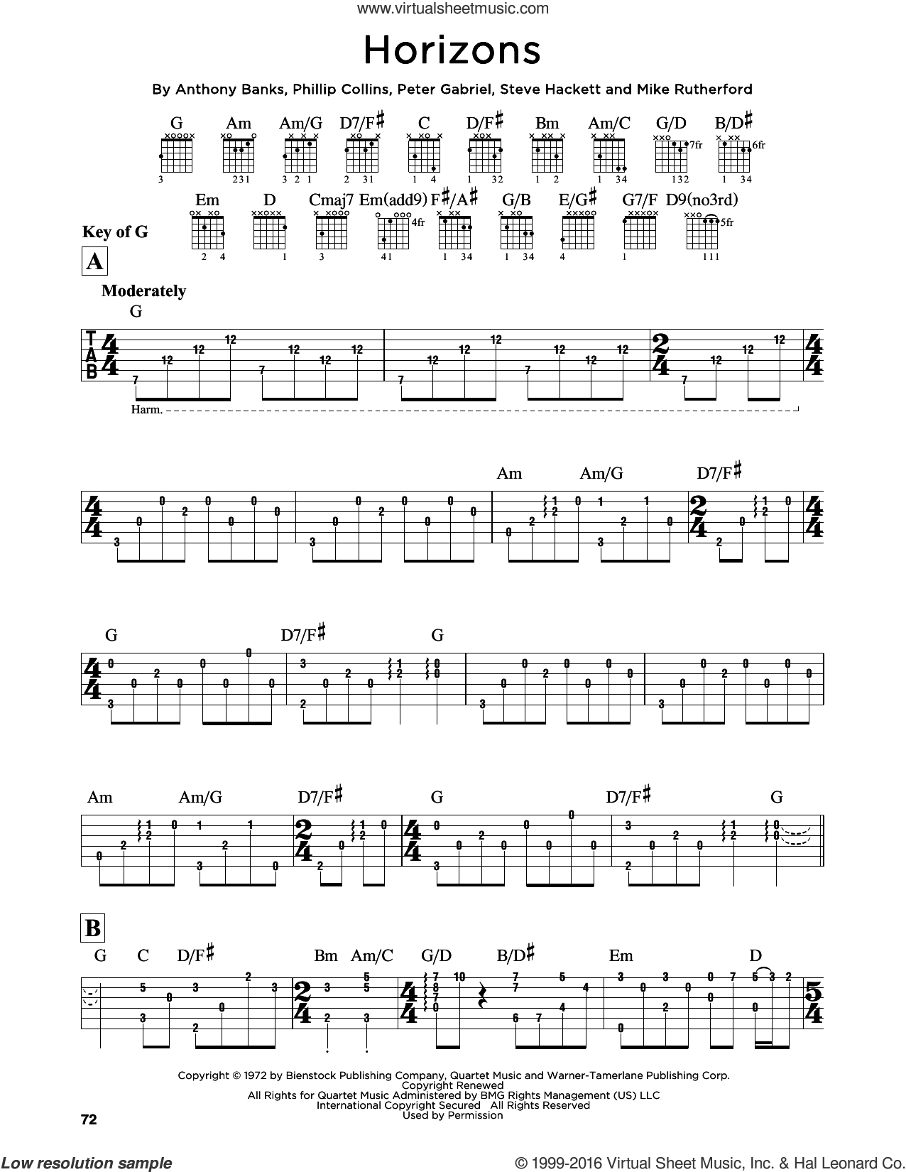 Horizons sheet music for guitar solo (lead sheet) by Genesis and Peter Gabriel. Score Image Preview.