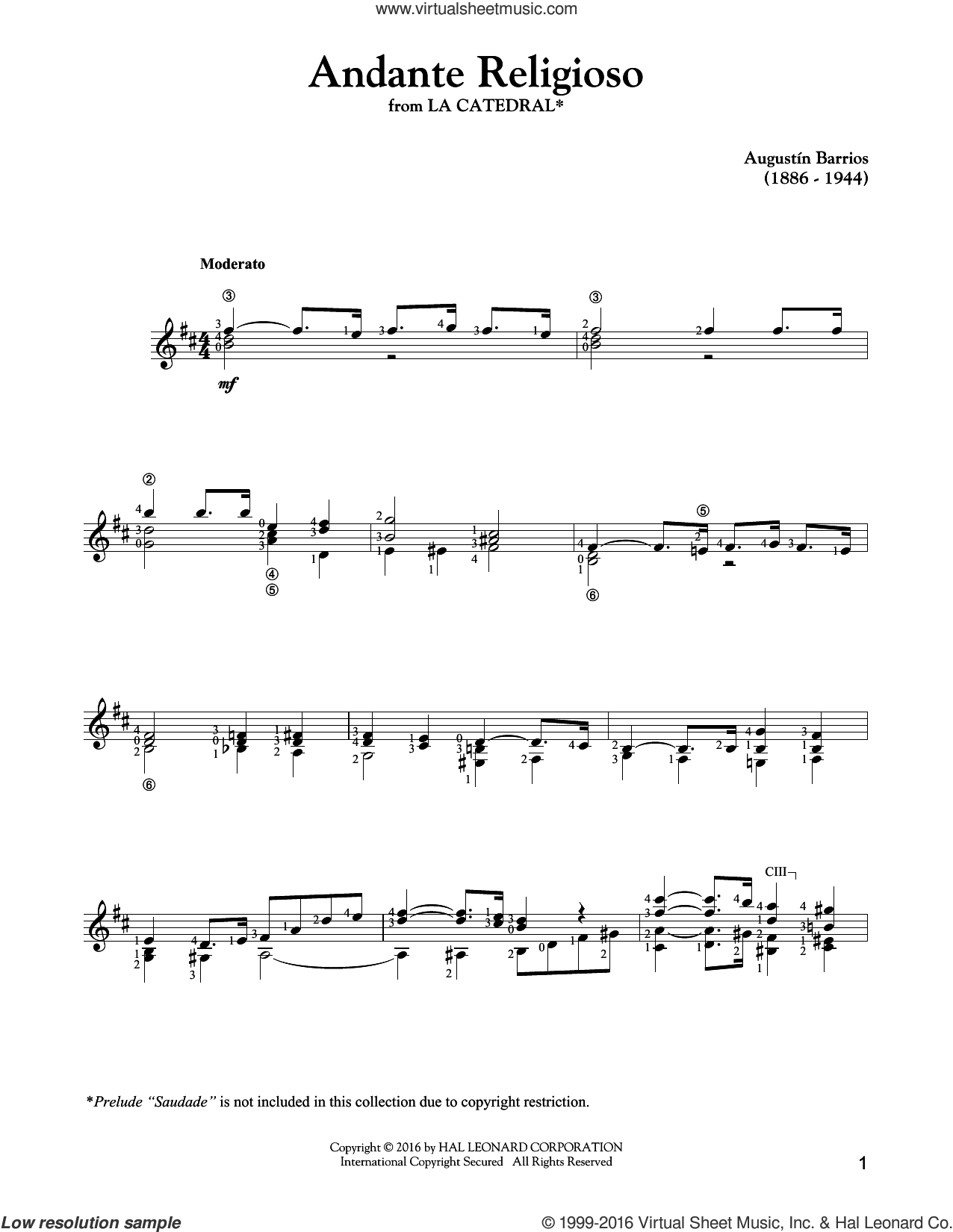 Andante Religioso sheet music for guitar solo by Agustin Barrios, classical score, intermediate. Score Image Preview.