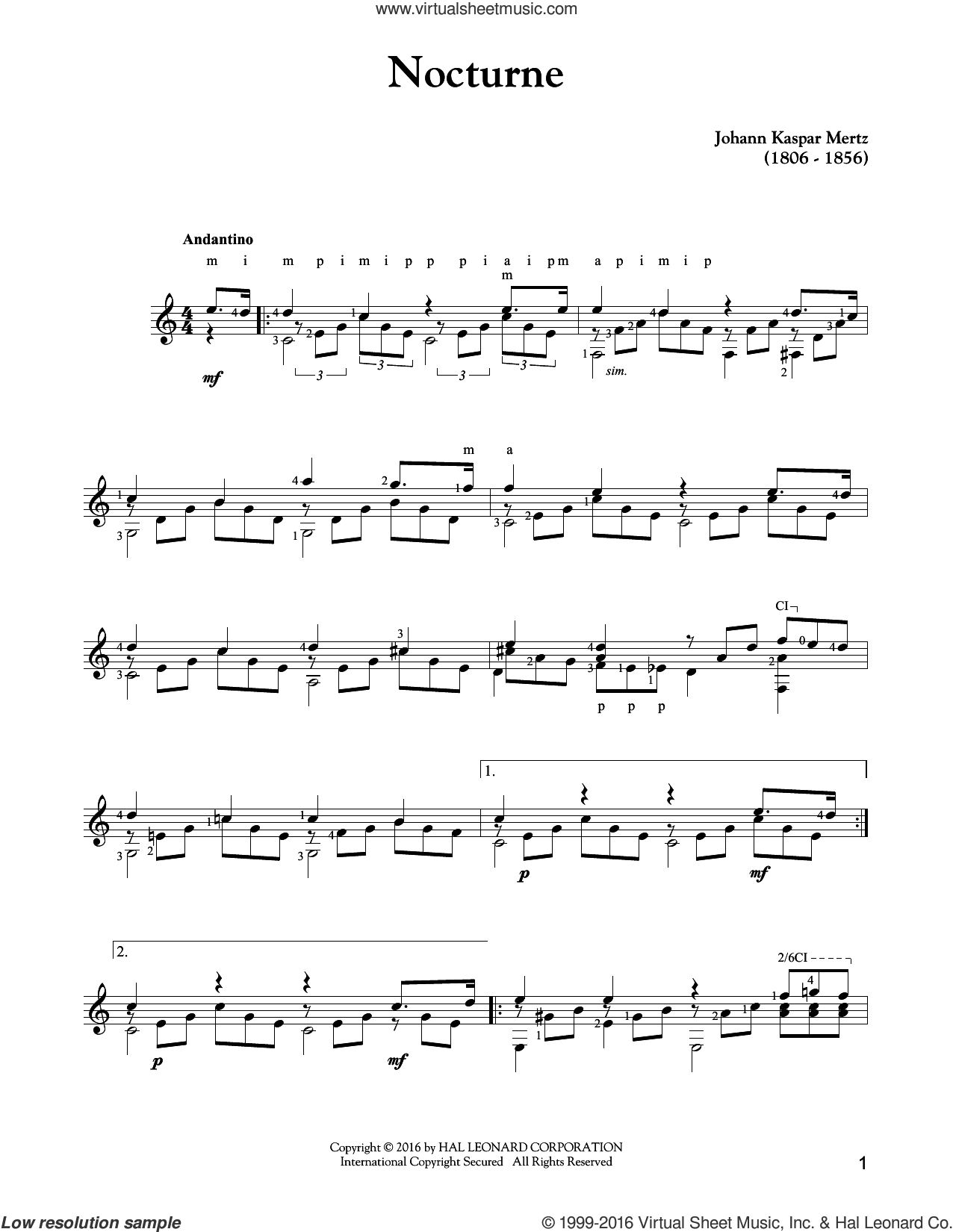 Nocturne sheet music for guitar solo by Johann Kaspar Mertz