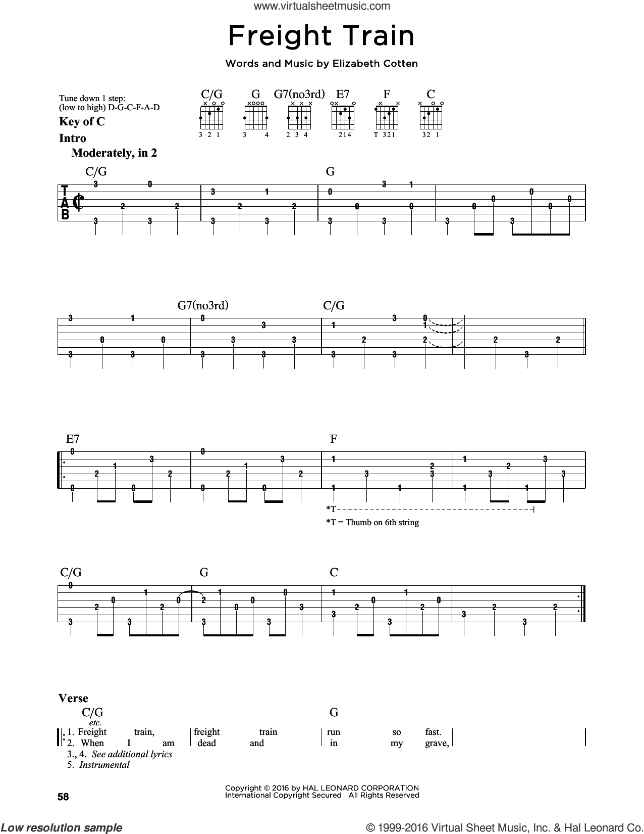 Freight Train sheet music for guitar solo (lead sheet) by Elizabeth Cotten, intermediate guitar (lead sheet)