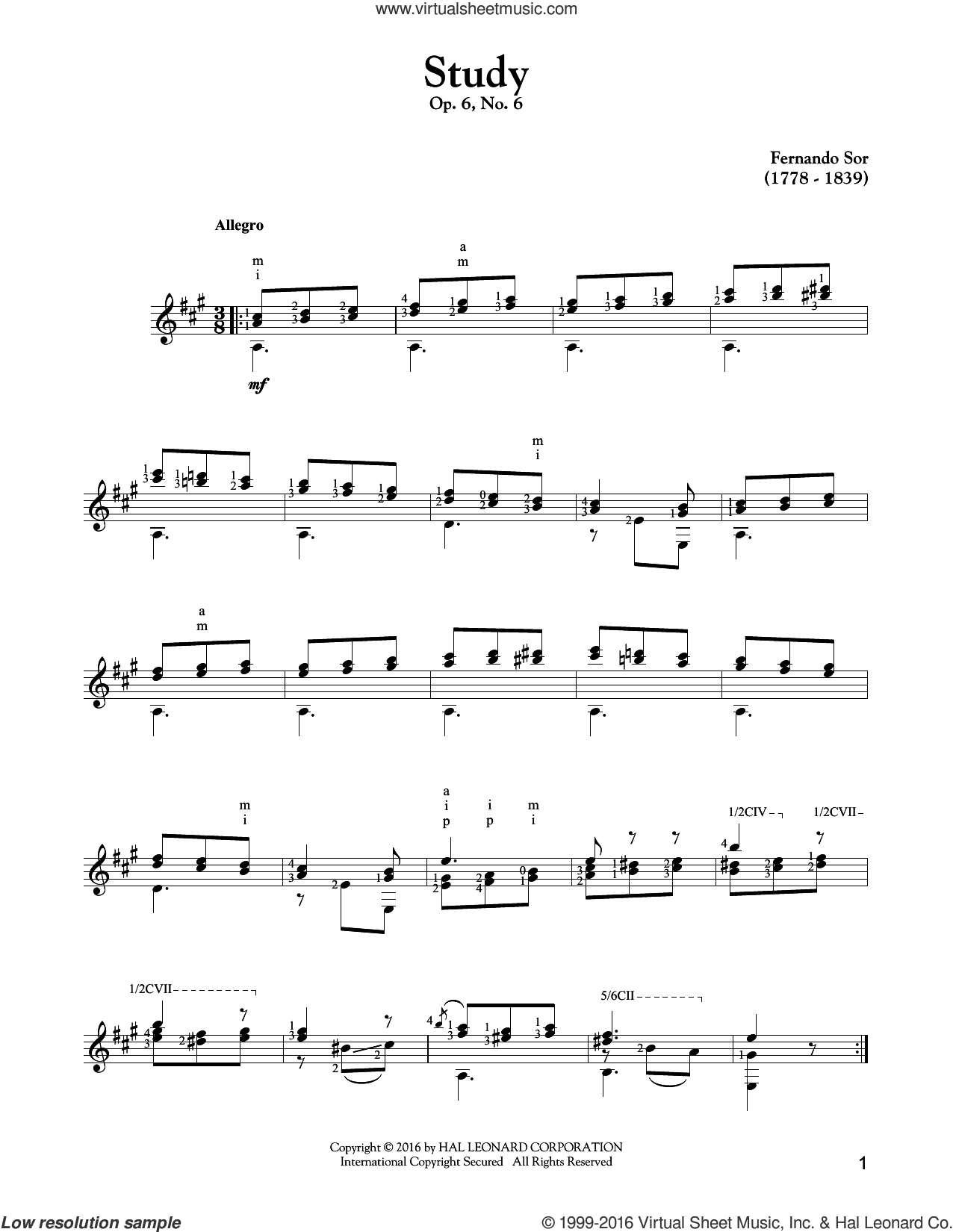 Study Op. 6, No. 6 sheet music for guitar solo by Fernando Sor. Score Image Preview.