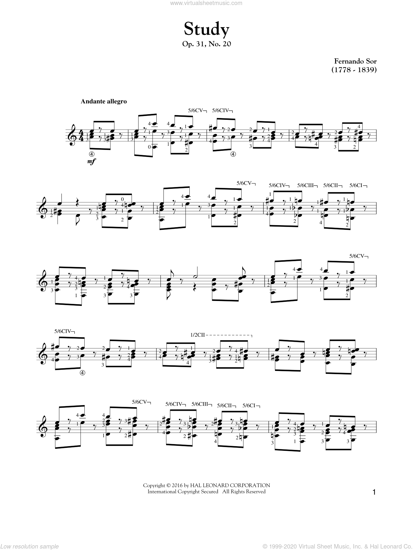 Study Op. 31, No. 20 sheet music for guitar solo by Fernando Sor, classical score, intermediate guitar. Score Image Preview.