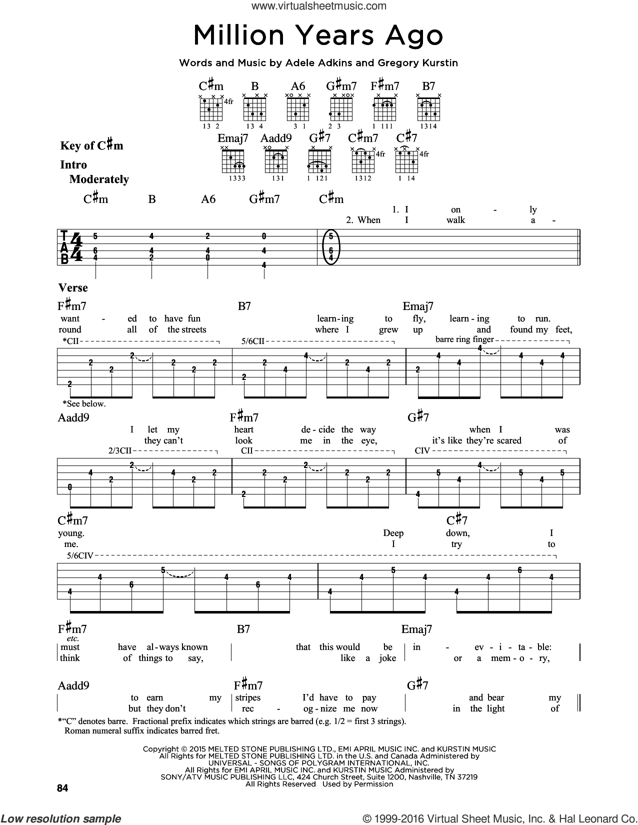 Million Years Ago sheet music for guitar solo (lead sheet) by Gregory Kurstin, Adele and Adele Adkins. Score Image Preview.