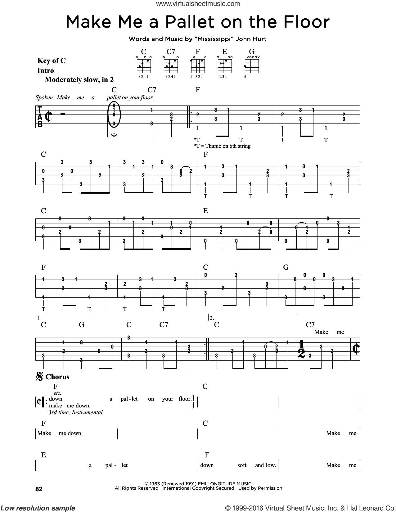 Make Me A Pallet On The Floor sheet music for guitar solo (lead sheet) by John Hurt, intermediate guitar (lead sheet). Score Image Preview.