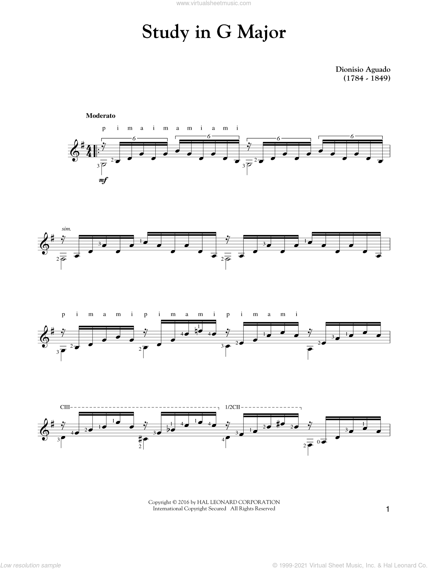 Study In G Major sheet music for guitar solo by Garcia Dionisio Aguado, classical score, intermediate skill level
