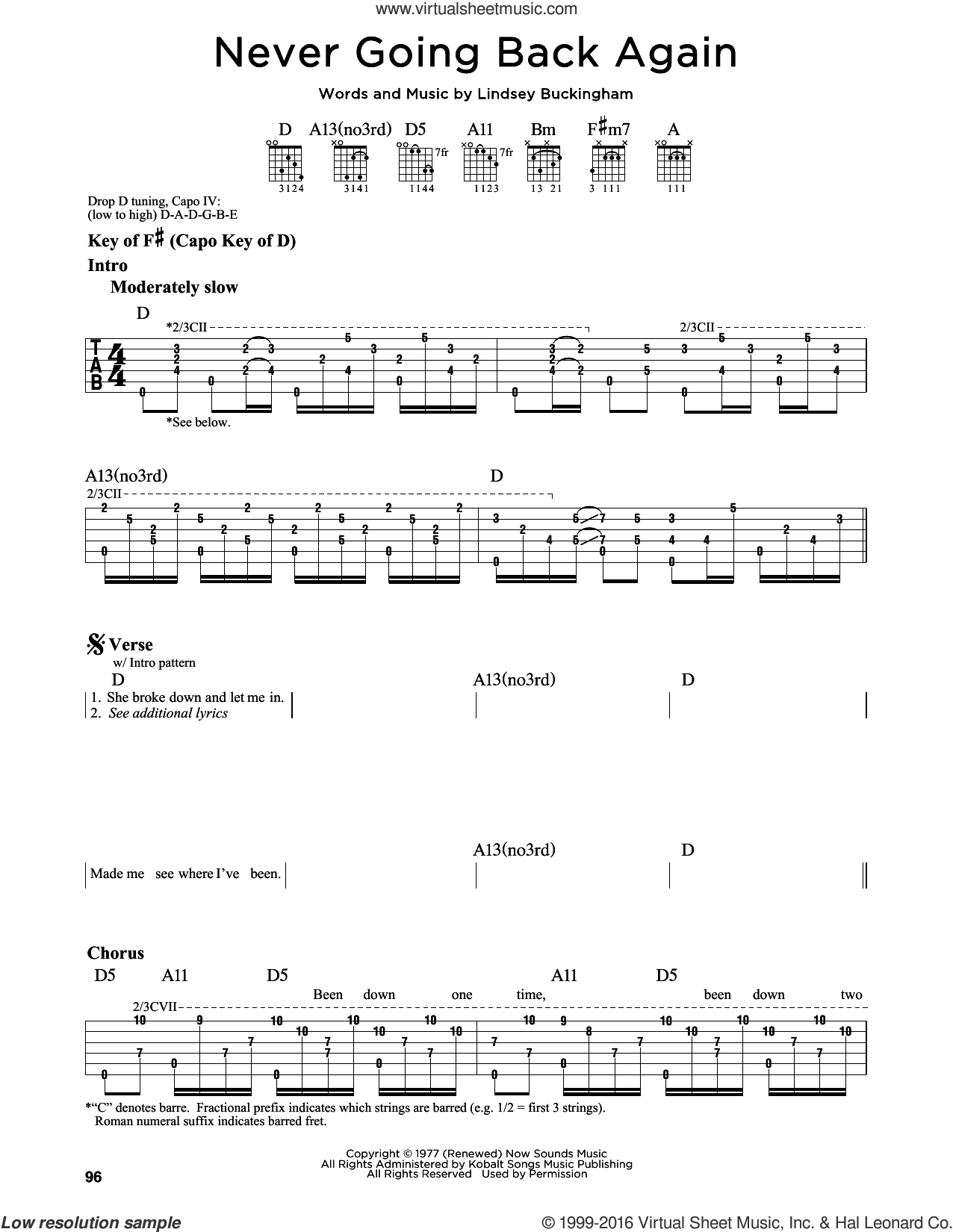 Never Going Back Again sheet music for guitar solo (lead sheet) by Fleetwood Mac and Lindsey Buckingham, intermediate guitar (lead sheet)