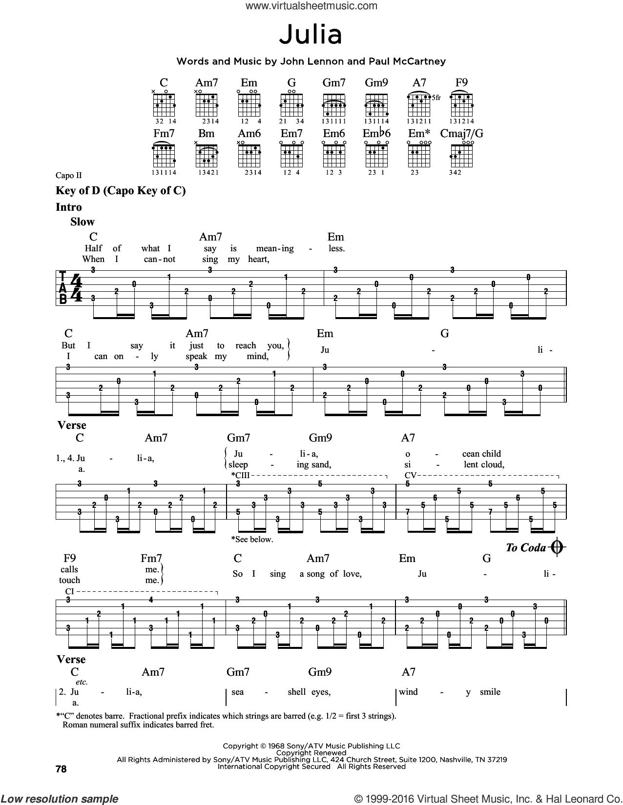 Julia sheet music for guitar solo (lead sheet) by The Beatles, John Lennon and Paul McCartney, classical score, intermediate guitar (lead sheet)