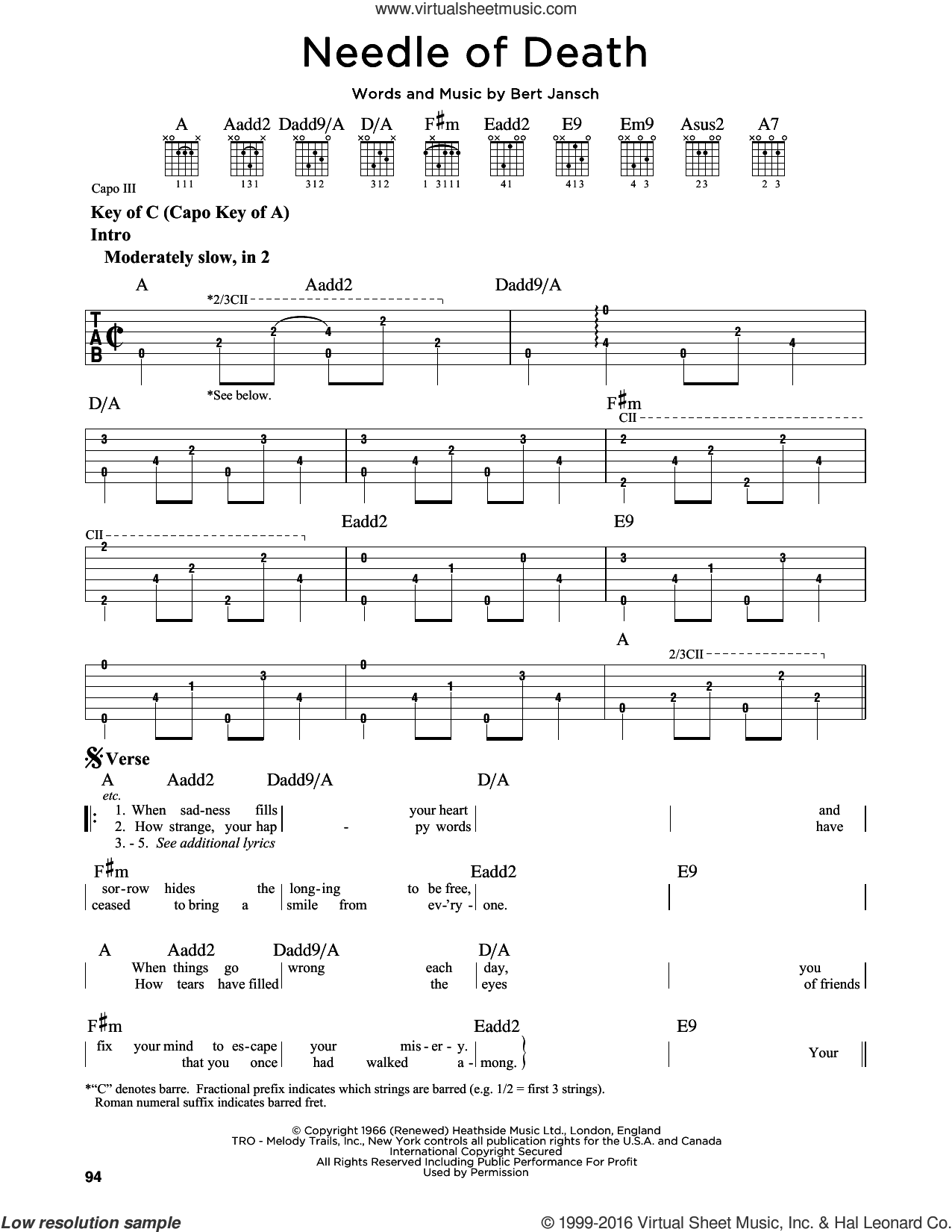 Needle Of Death sheet music for guitar solo (lead sheet) by Bert Jansch, intermediate guitar (lead sheet)