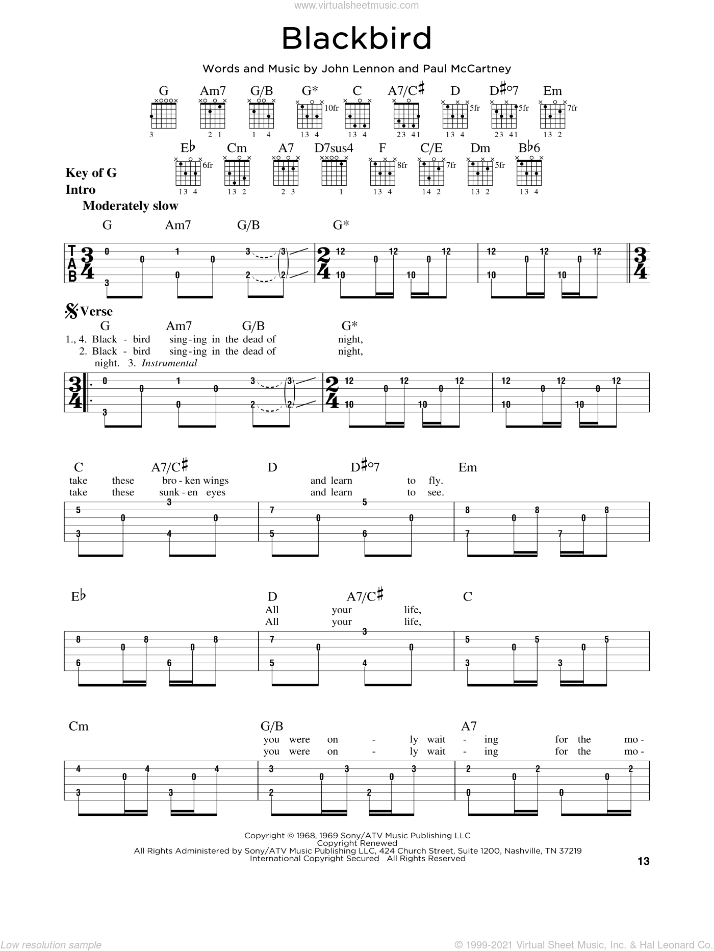 Blackbird sheet music for guitar solo (lead sheet) by The Beatles, Wings, John Lennon and Paul McCartney, intermediate guitar (lead sheet)