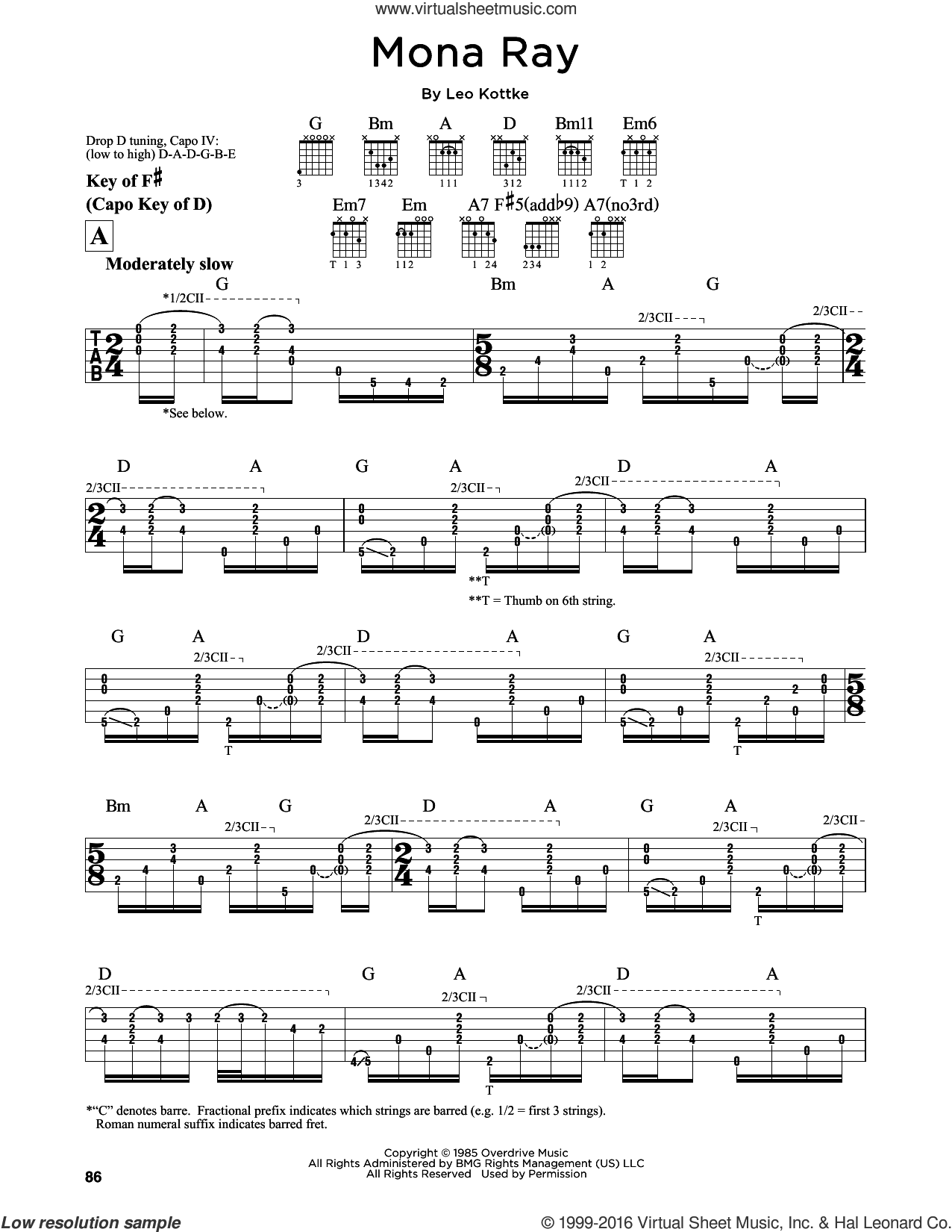 Mona Ray sheet music for guitar solo (lead sheet) by Leo Kottke, intermediate guitar (lead sheet)