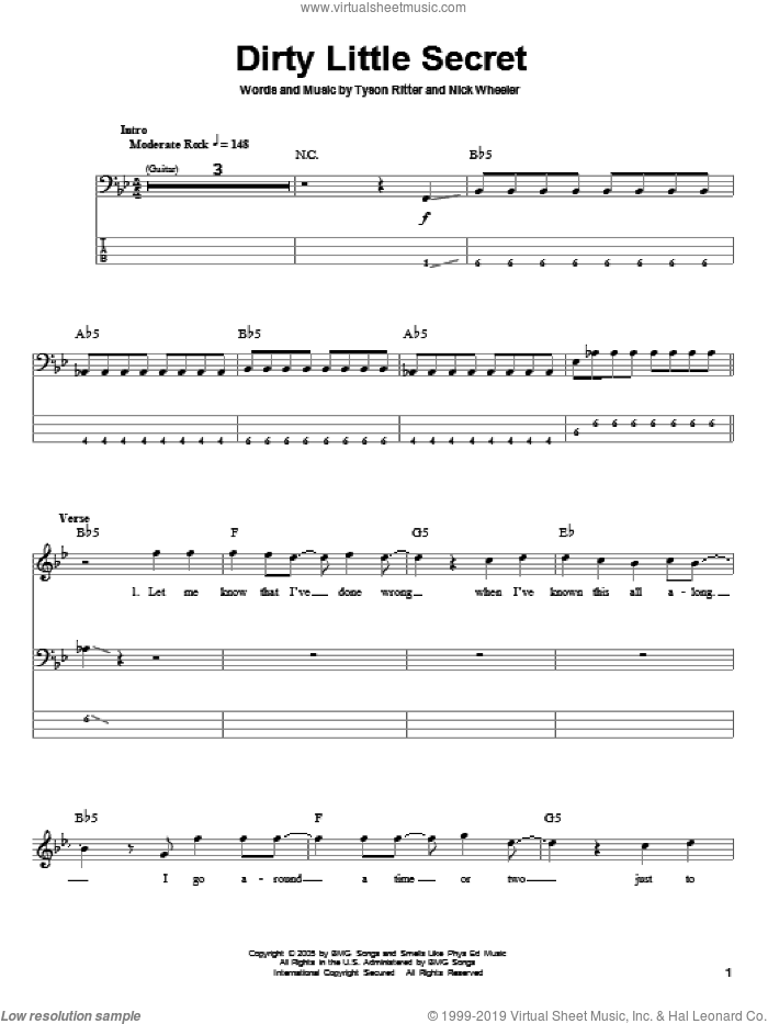 Dirty Little Secret sheet music for bass (tablature) (bass guitar) by The All-American Rejects, intermediate. Score Image Preview.