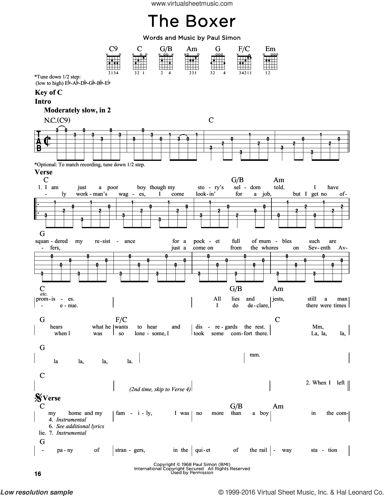 The Boxer sheet music for guitar solo (lead sheet) by Paul Simon