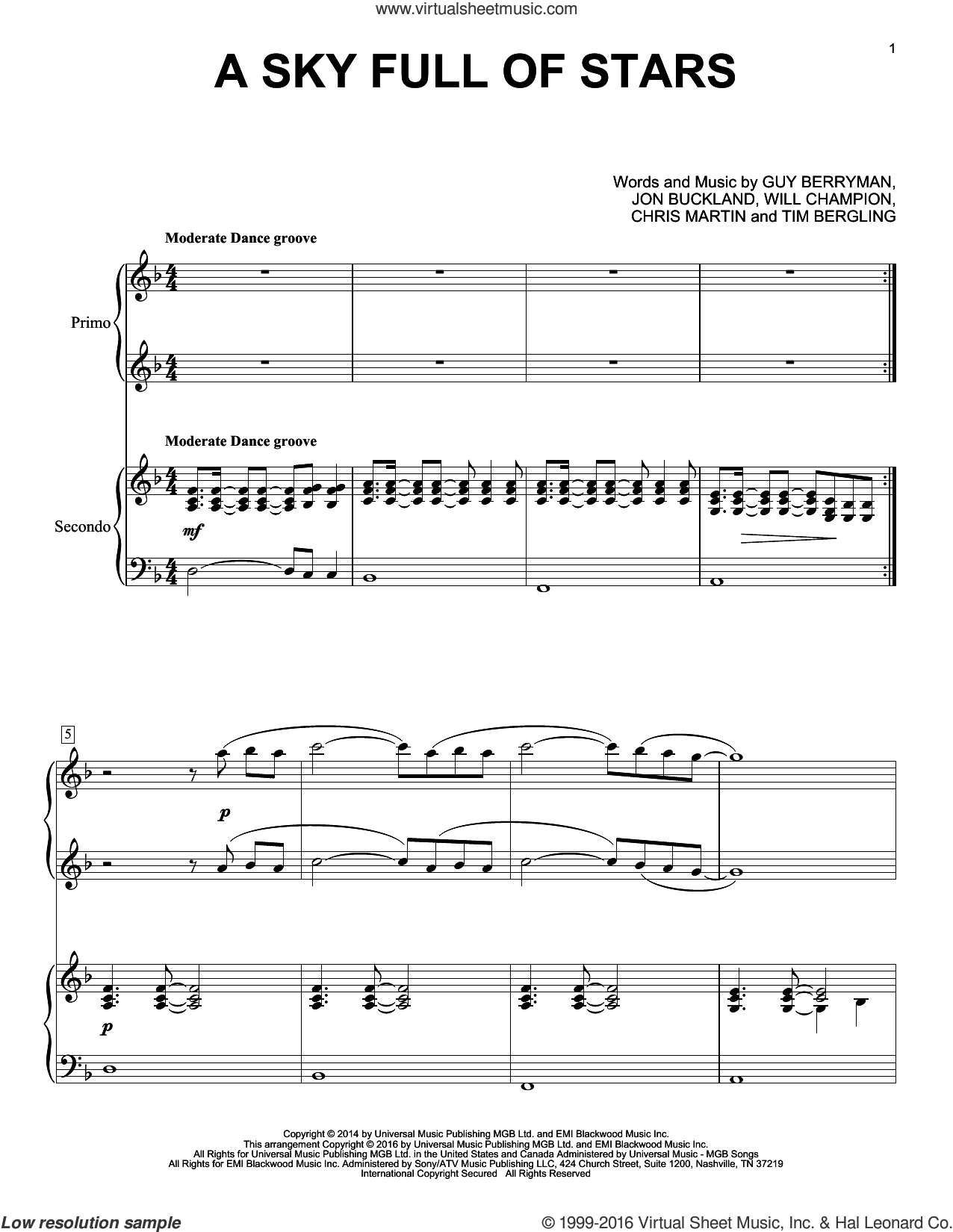 A Sky Full Of Stars sheet music for piano four hands by Coldplay, Chris Martin, Guy Berryman, Jon Buckland, Tim Bergling and Will Champion, wedding score, intermediate skill level