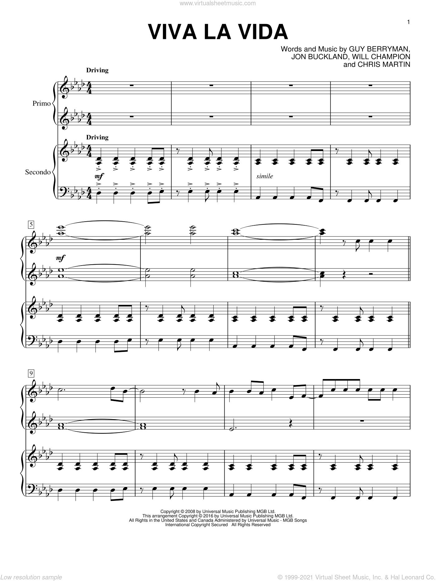 Viva La Vida sheet music for piano four hands by Coldplay, Chris Martin, Guy Berryman, Jon Buckland and Will Champion, intermediate skill level