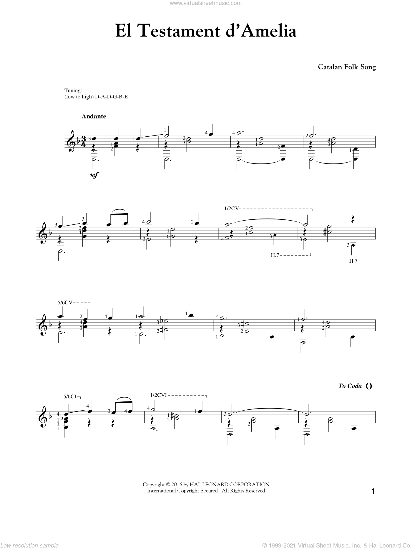 El Testament D'Amelia sheet music for guitar solo by Johann Sebastian Bach. Score Image Preview.