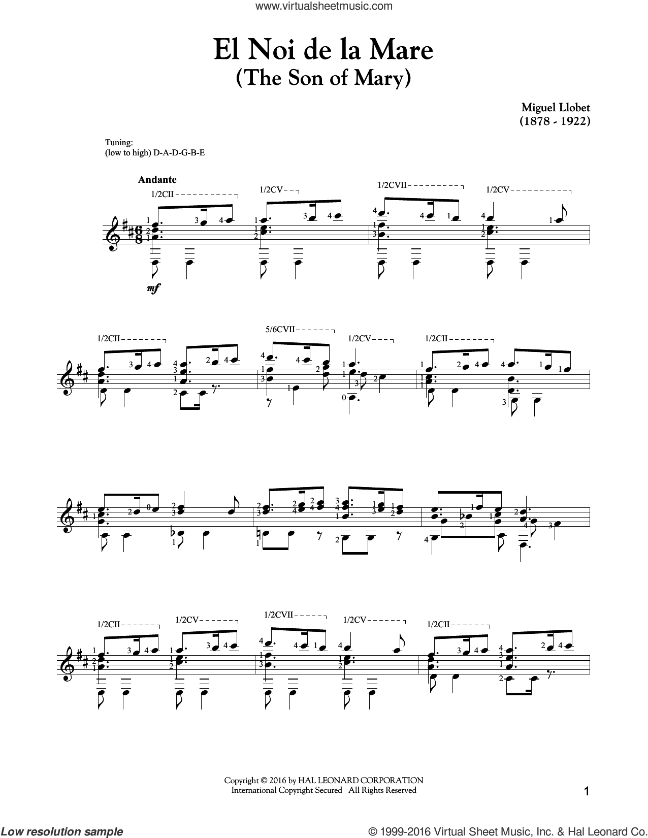 El Noi De La Mare (The Son Of Mary) sheet music for guitar solo by Traditional Catalan Carol. Score Image Preview.