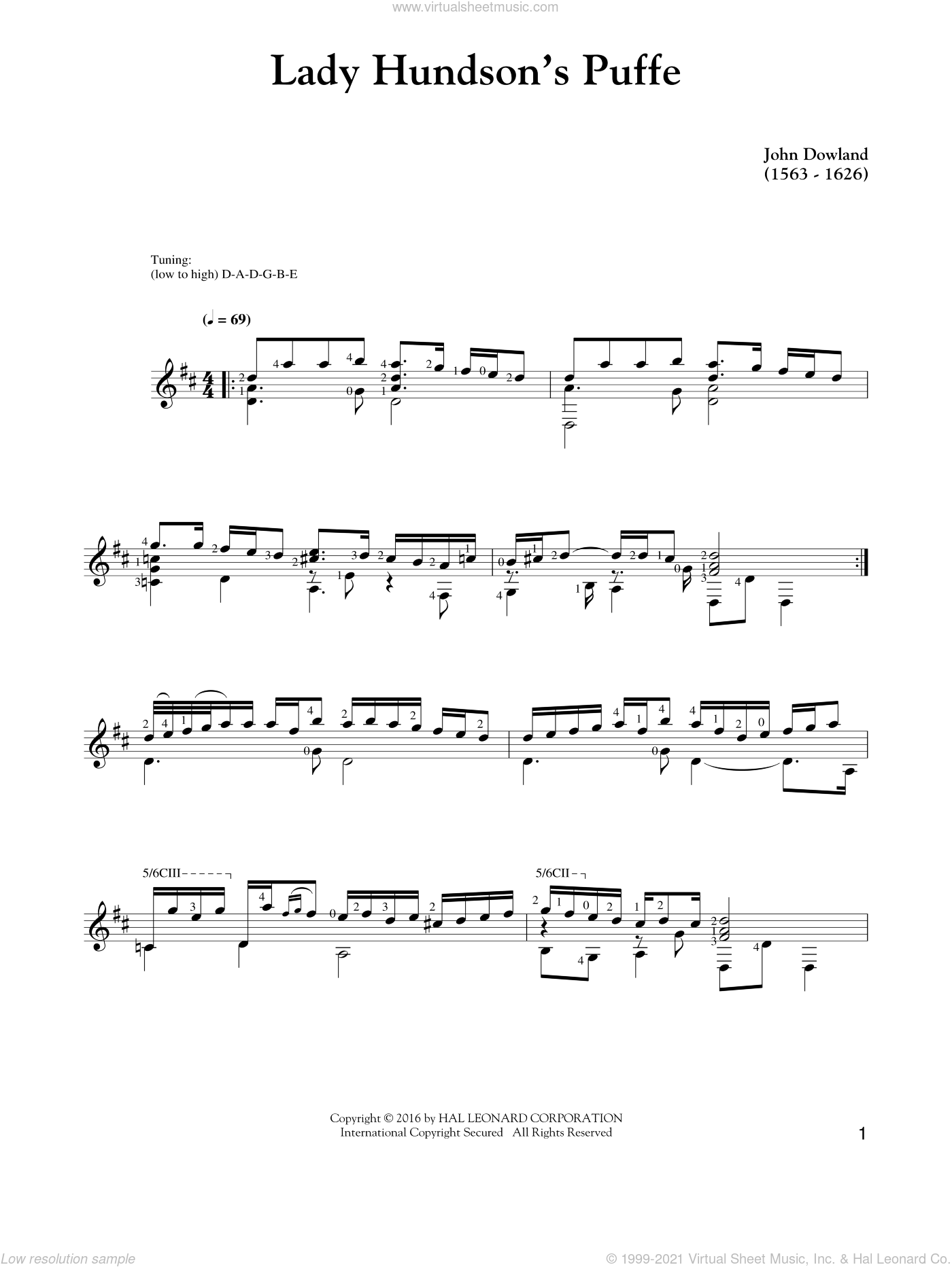 Lady Hunsdon's Puffe sheet music for guitar solo by John Dowland. Score Image Preview.