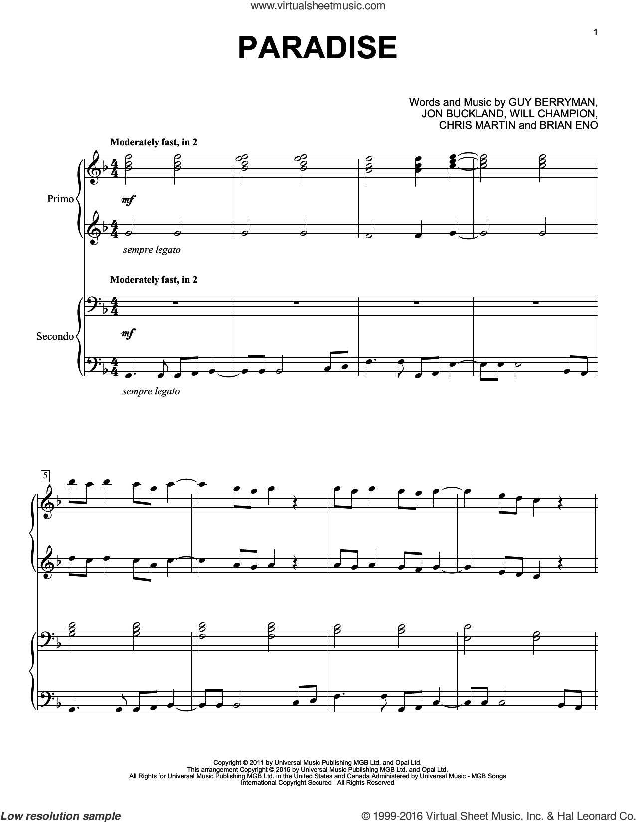 Paradise sheet music for piano four hands by Brian Eno, Coldplay, Chris Martin, Guy Berryman, Jon Buckland and Will Champion, intermediate. Score Image Preview.