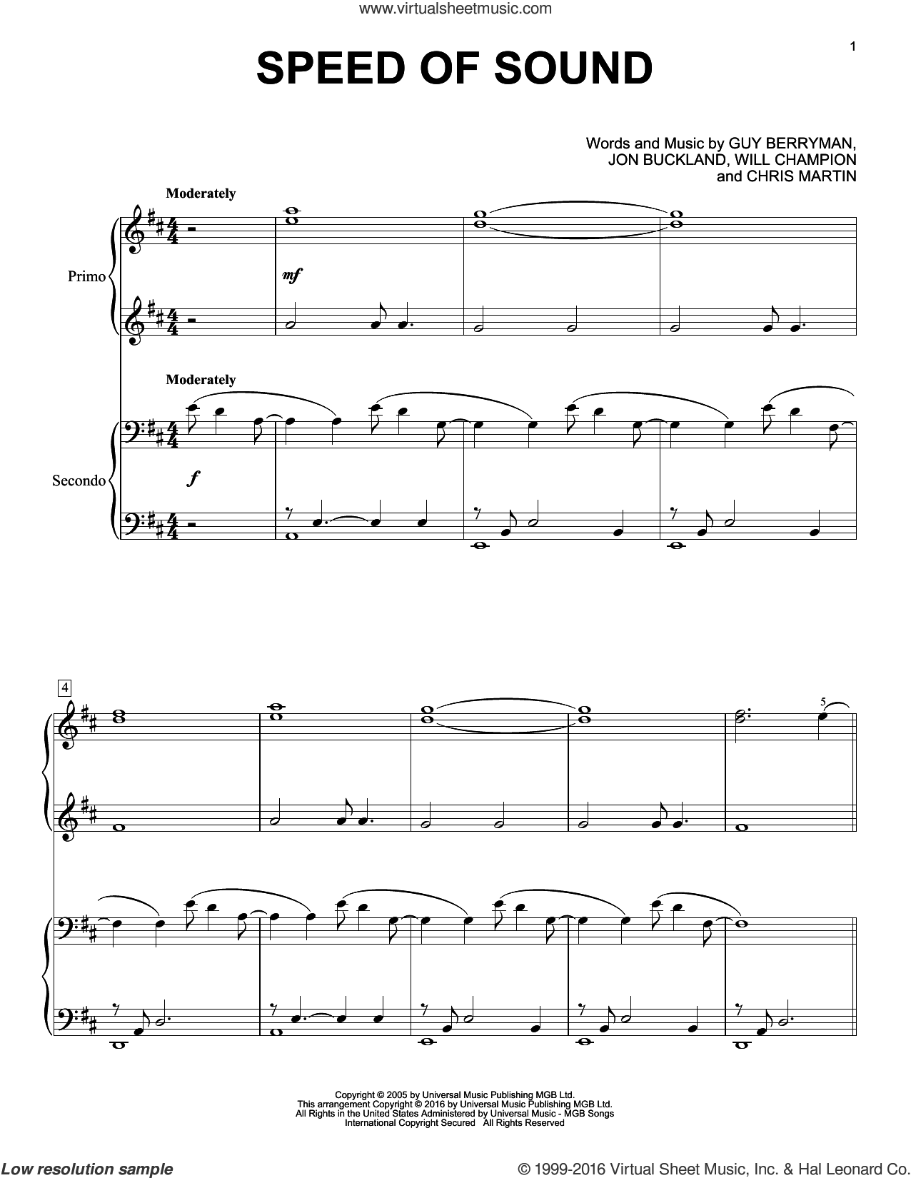 Speed Of Sound sheet music for piano four hands by Coldplay, Chris Martin, Guy Berryman, Jon Buckland and Will Champion, intermediate