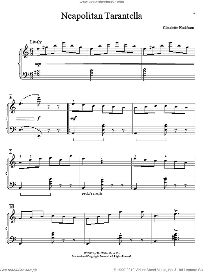 Neapolitan Tarantella sheet music for piano solo (elementary) by Claudette Hudelson, classical score, beginner piano (elementary)