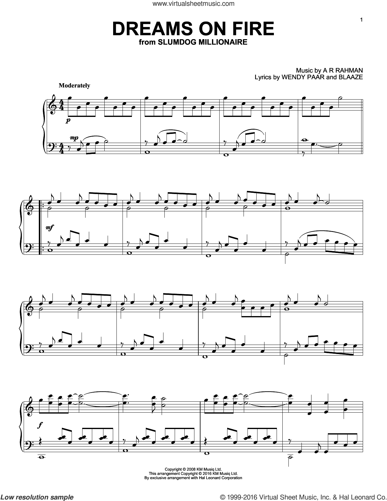 Dreams On Fire sheet music for piano solo by A.R. Rahman, BlaaZe and Wendy Paar, intermediate skill level