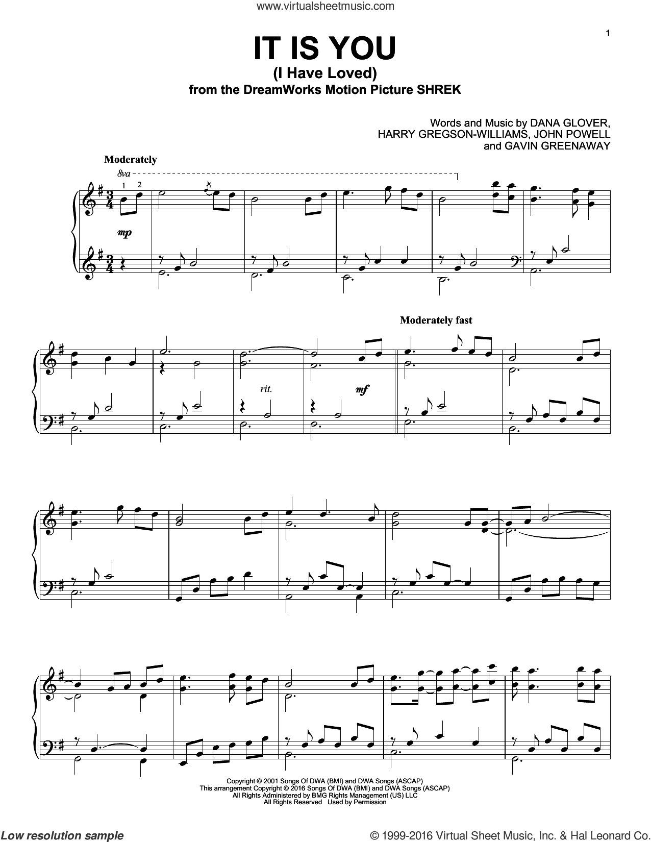It Is You (I Have Loved), (intermediate) sheet music for piano solo by Dana Glover, Gavin Greenaway, Harry Gregson-Williams and John Powell, wedding score, intermediate. Score Image Preview.
