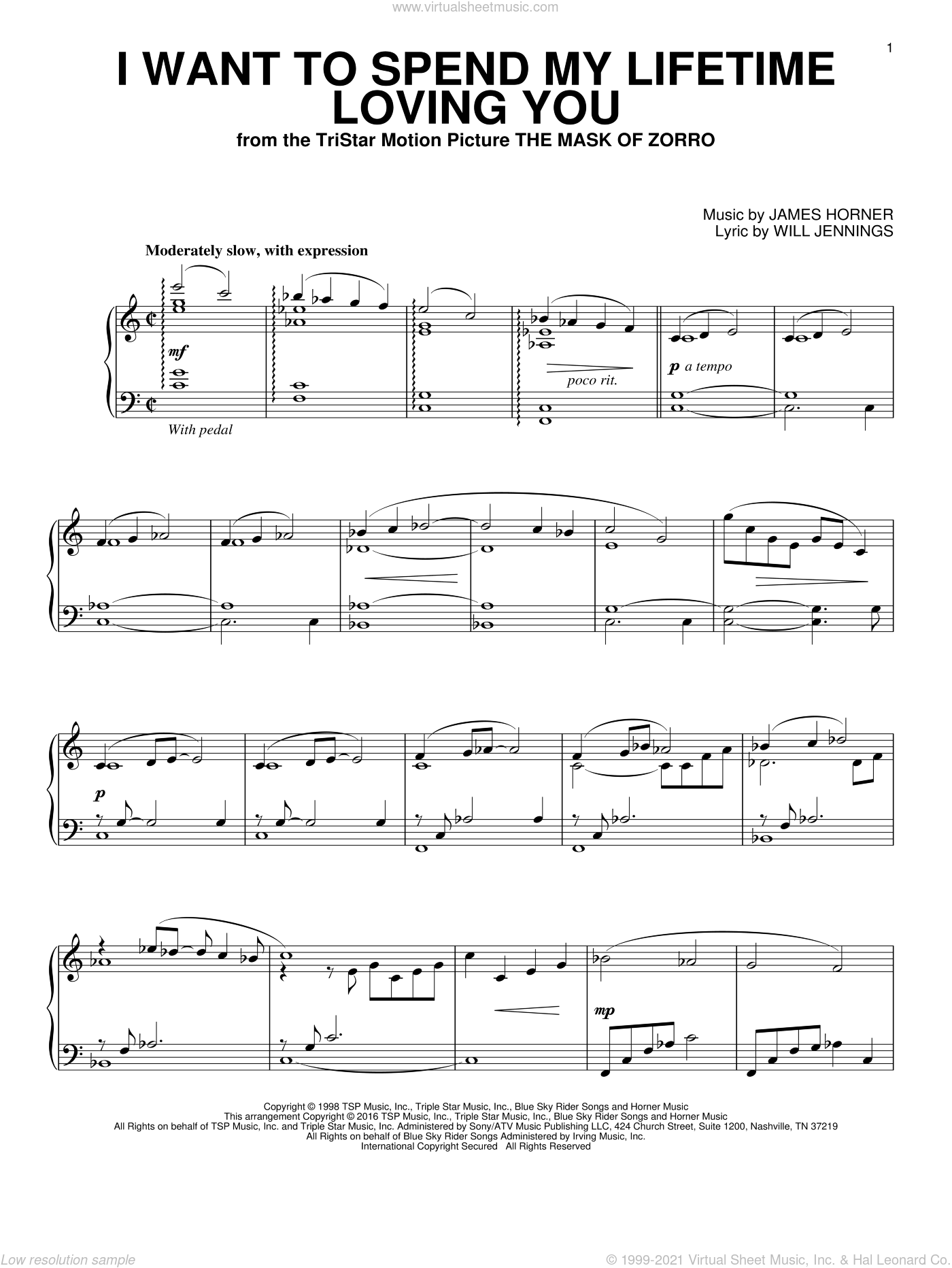 I Want To Spend My Lifetime Loving You sheet music for piano solo by Marc Anthony and Tina Arena, James Horner and Will Jennings, wedding score, intermediate skill level