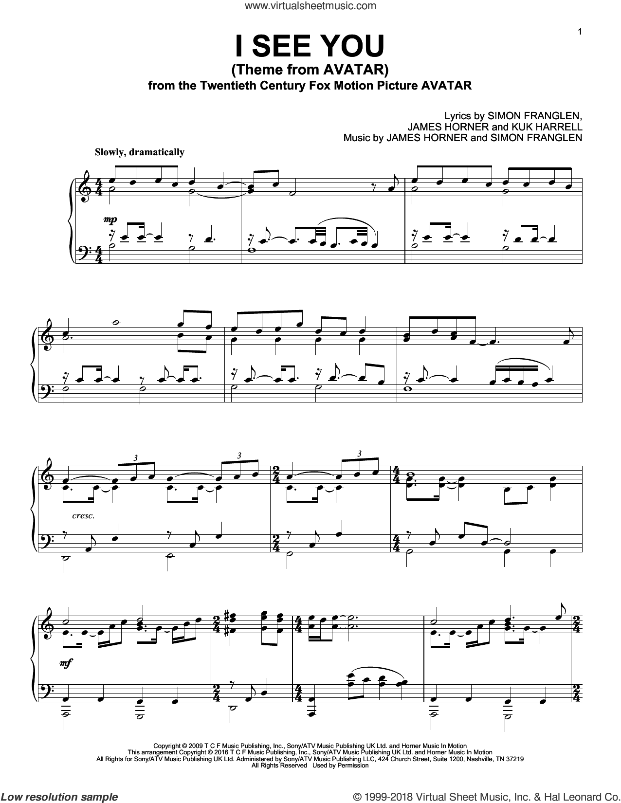 I See You (Theme From Avatar), (intermediate) sheet music for piano solo by Leona Lewis, James Horner, Kuk Harrell and Simon Franglen, intermediate skill level