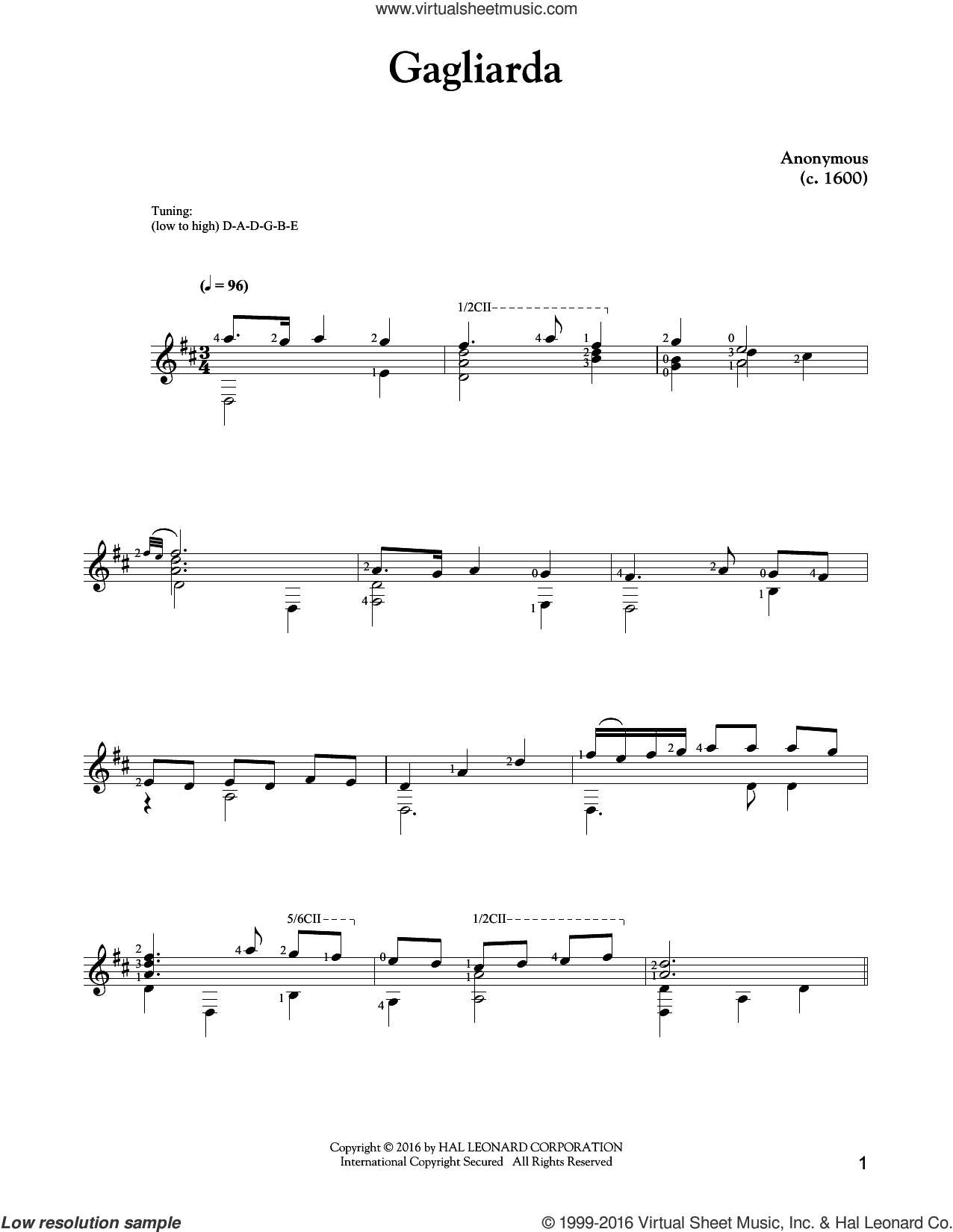 Gagliarda sheet music for guitar solo by Anonymous. Score Image Preview.