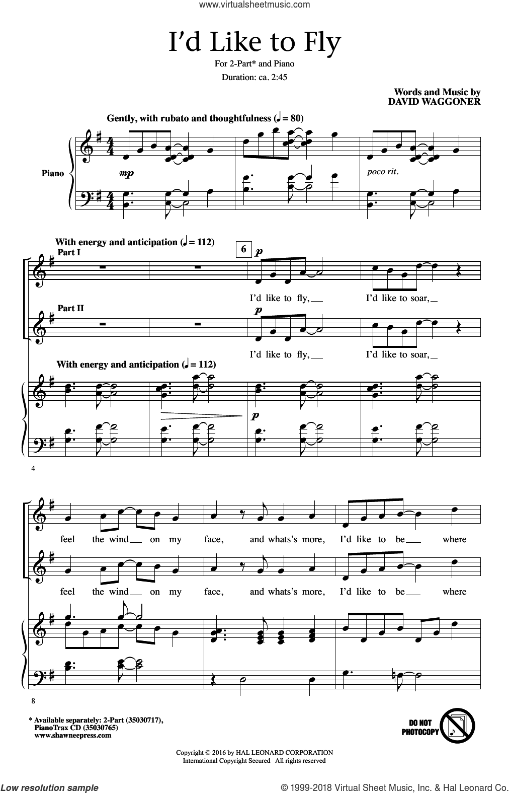 I'd Like To Fly sheet music for choir and piano (duets) by David Waggoner. Score Image Preview.