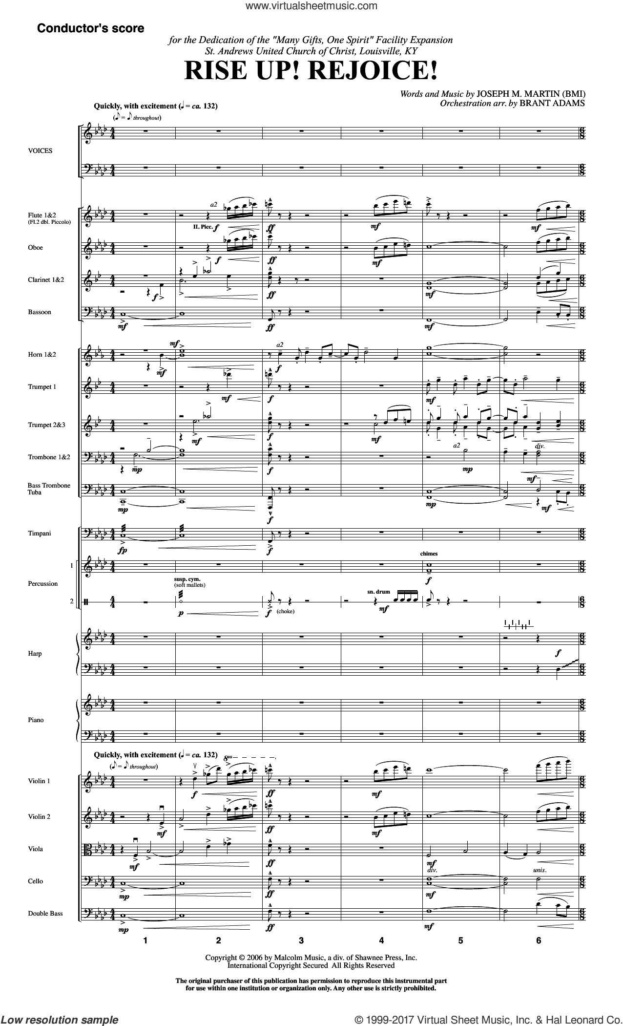 Rise Up! Rejoice! (from Footprints In The Sand) (COMPLETE) sheet music for orchestra/band by Joseph Martin and Joseph M. Martin, intermediate orchestra/band. Score Image Preview.