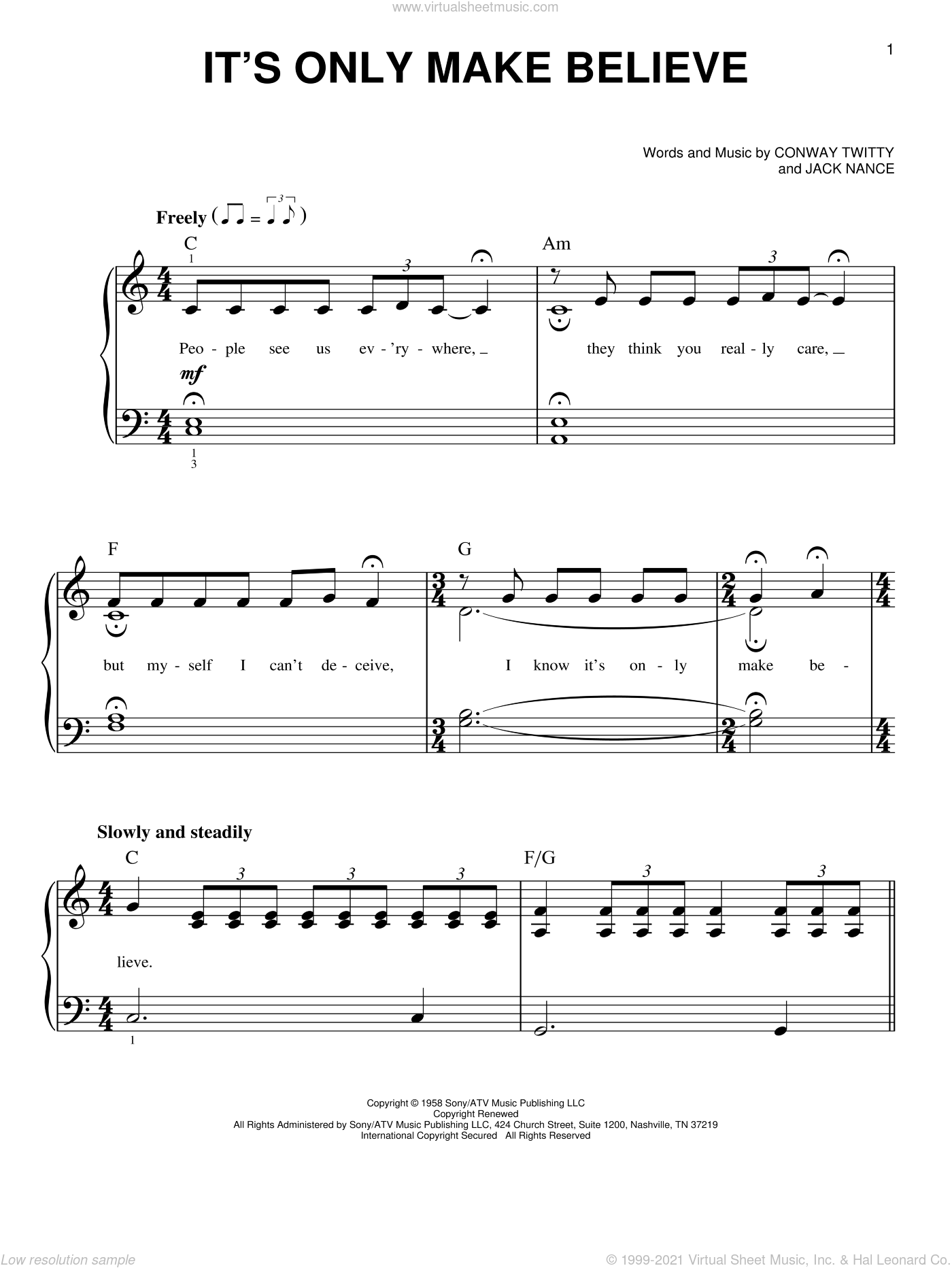 It's Only Make Believe sheet music for piano solo by Conway Twitty, Glen Campbell and Jack Nance, beginner skill level