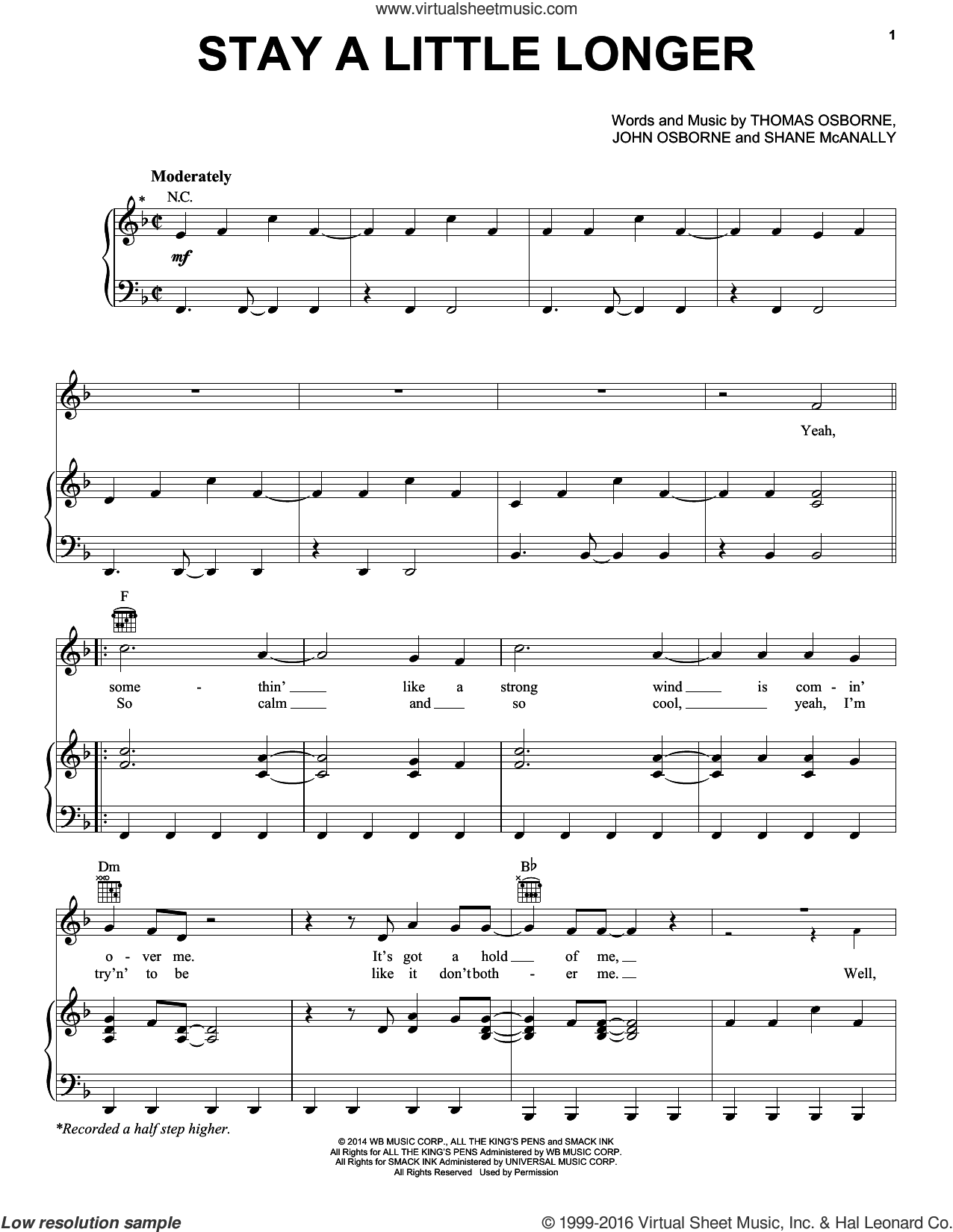 Stay A Little Longer sheet music for voice, piano or guitar by Brothers Osborne, John Osborne, Shane McAnally and Thomas Osborne, intermediate skill level