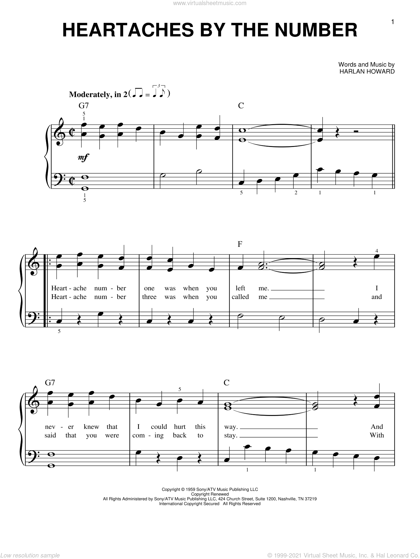 Heartaches By The Number sheet music for piano solo by Ray Price, Guy Mitchell and Harlan Howard, beginner skill level