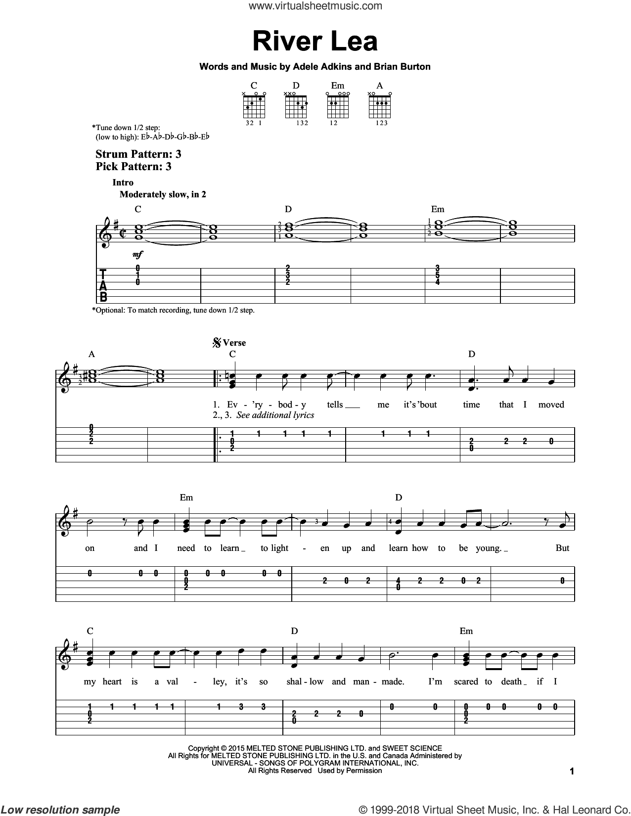 River Lea sheet music for guitar solo (easy tablature) by Adele, Adele Adkins and Brian Burton, easy guitar (easy tablature)