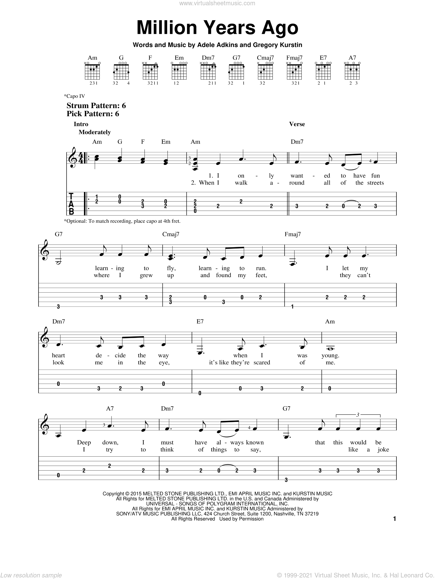 Million Years Ago sheet music for guitar solo (easy tablature) by Adele. Score Image Preview.
