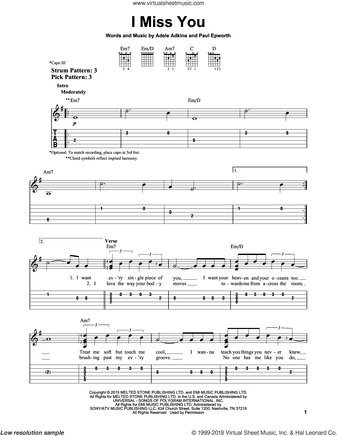 I Miss You sheet music for guitar solo (easy tablature) by Adele and Paul Epworth, easy guitar (easy tablature). Score Image Preview.