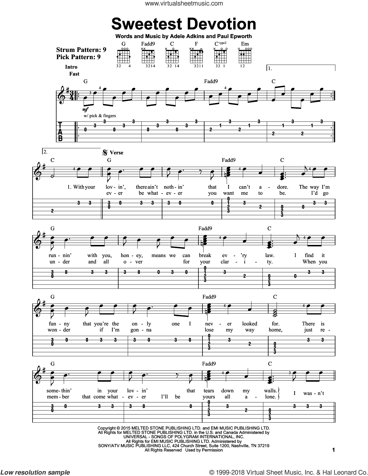 Sweetest Devotion sheet music for guitar solo (easy tablature) by Adele and Paul Epworth, easy guitar (easy tablature). Score Image Preview.