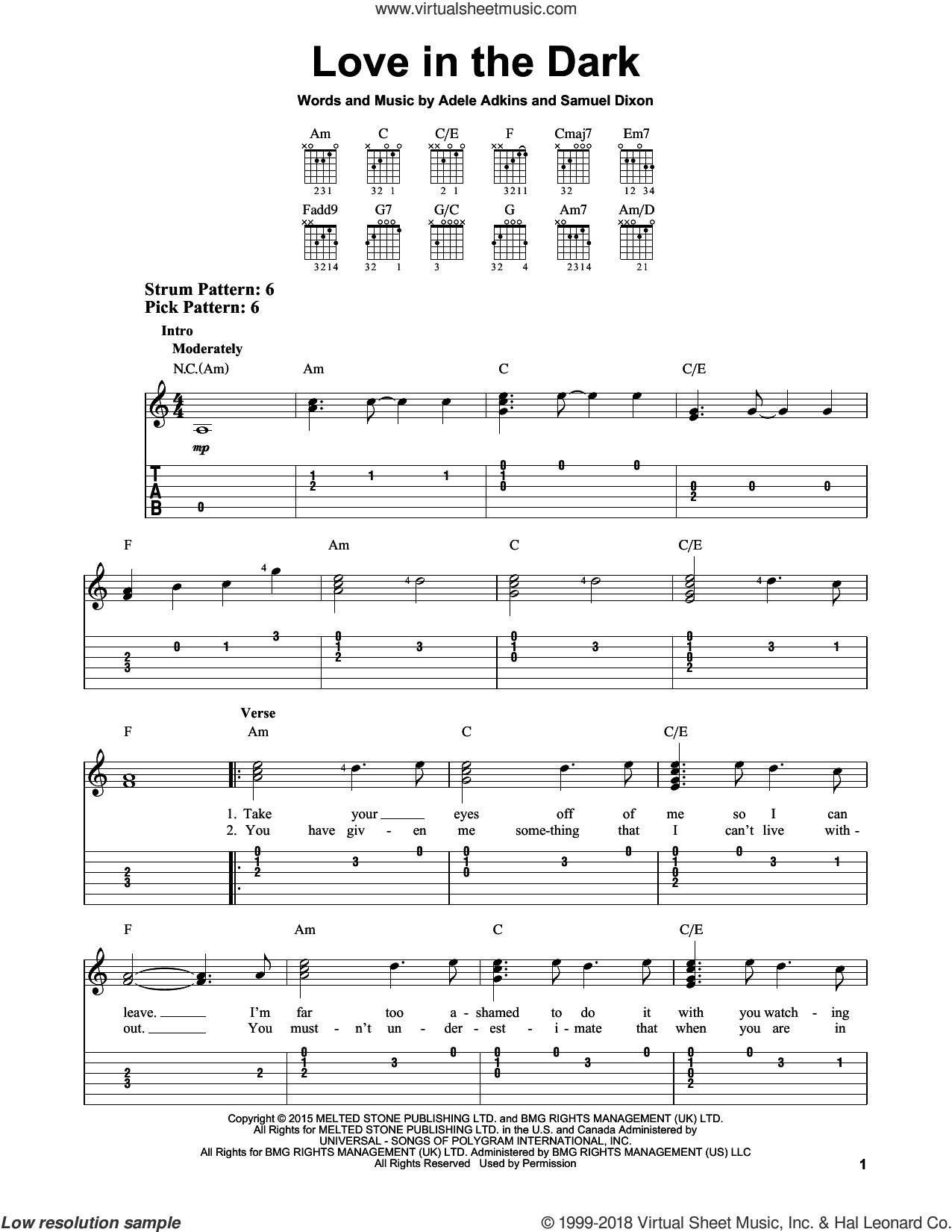 Love In The Dark sheet music for guitar solo (easy tablature) by Adele, Adele Adkins and Samuel Dixon, easy guitar (easy tablature)