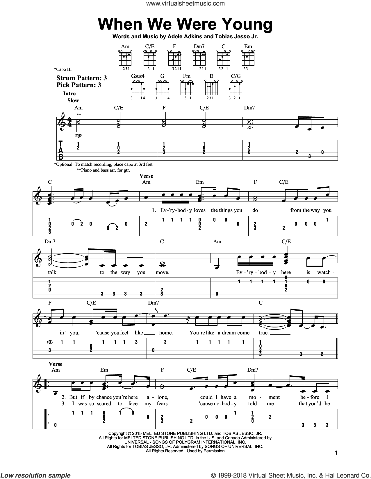 When We Were Young sheet music for guitar solo (easy tablature) by Adele, Adele Adkins and Tobias Jesso Jr., easy guitar (easy tablature). Score Image Preview.