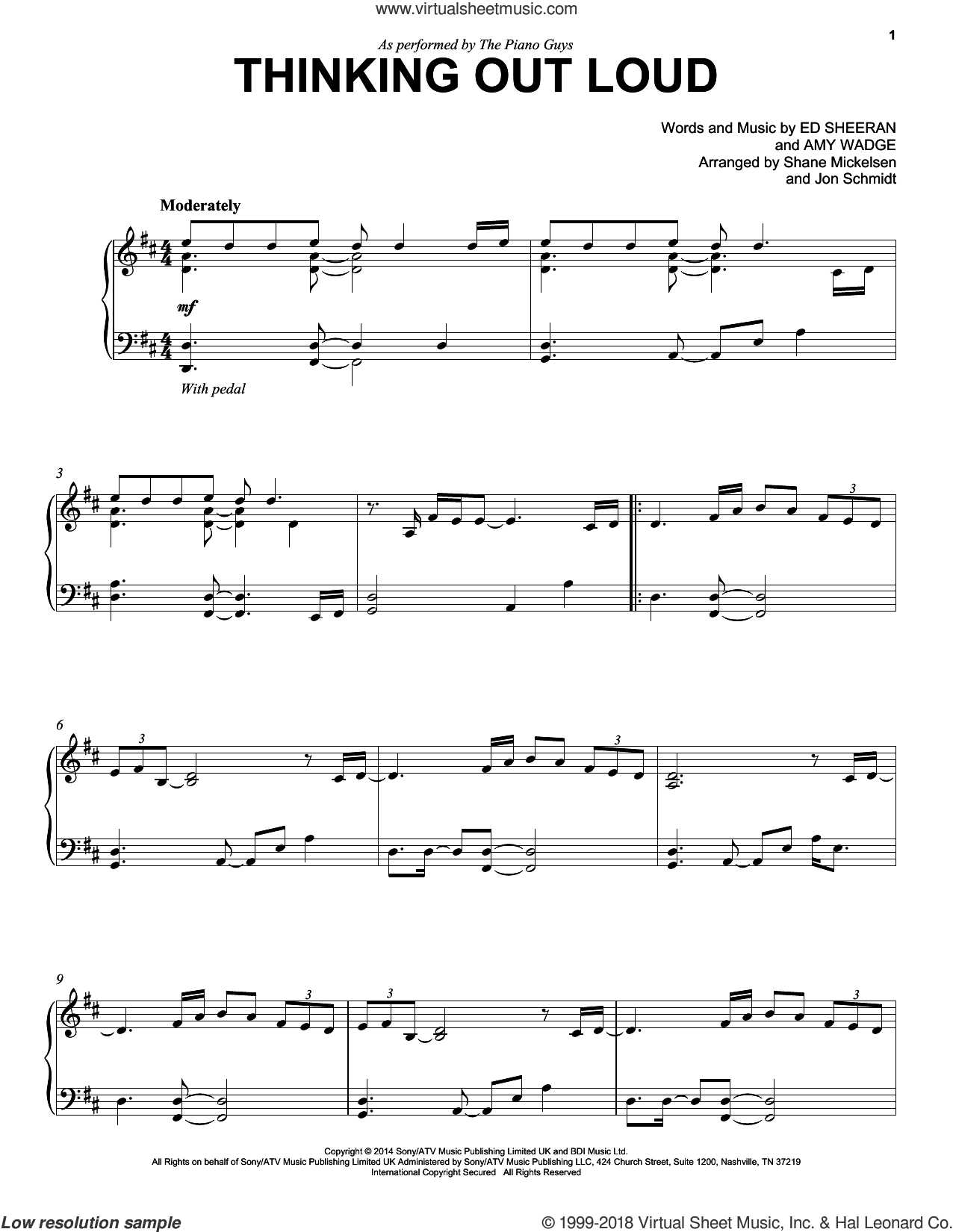 Thinking Out Loud sheet music for cello and piano by The Piano Guys, Amy Wadge and Ed Sheeran, wedding score, intermediate