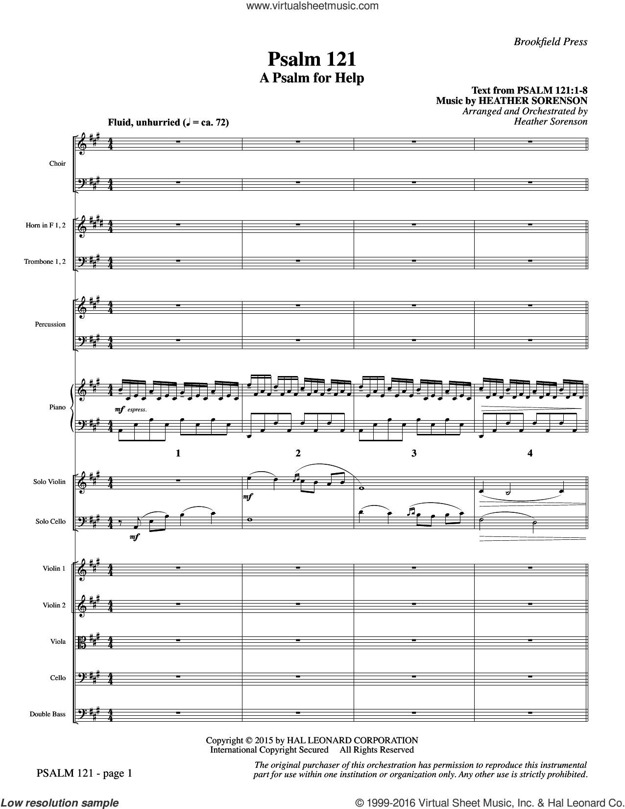 Psalm 121 (A Psalm For Help) (COMPLETE) sheet music for orchestra by Heather Sorenson