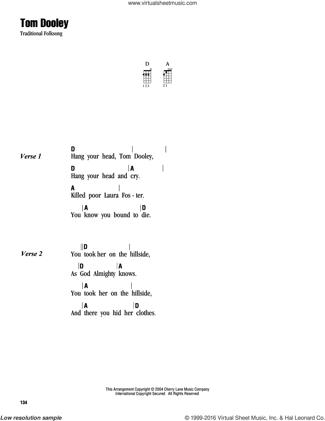 Tom Dooley sheet music for ukulele (chords), intermediate skill level
