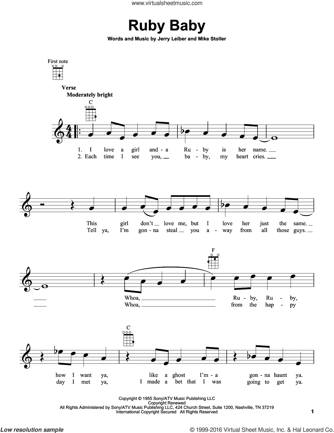 Ruby Baby sheet music for ukulele by The Drifters, Dion and Mike Stoller, intermediate ukulele. Score Image Preview.