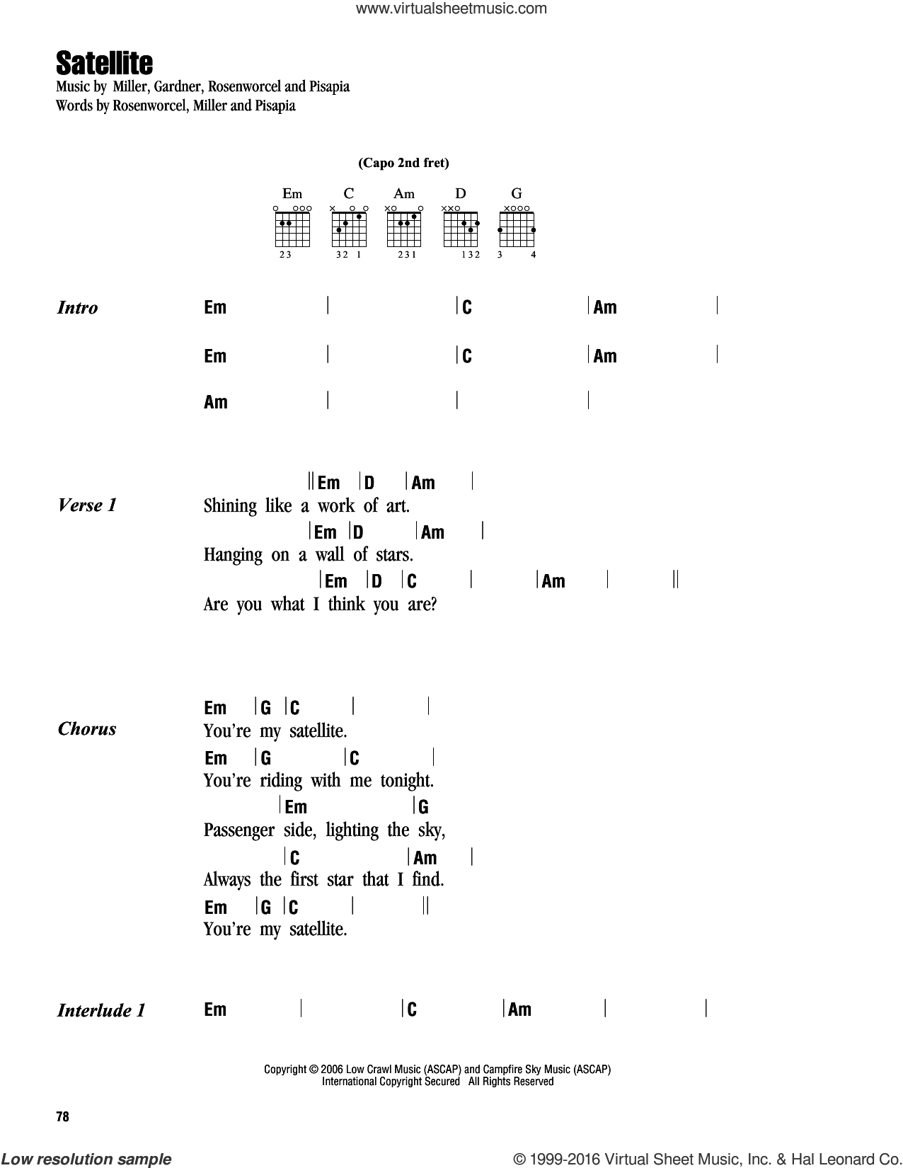 Satellite sheet music for guitar (chords) by Rosenworcel, Guster and Pisapia. Score Image Preview.