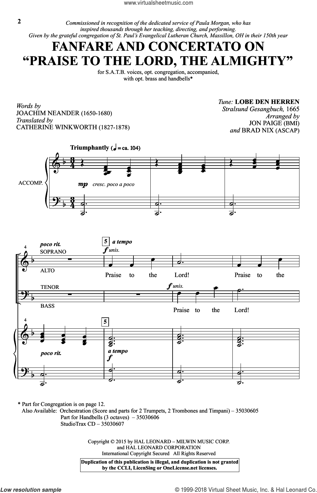 Praise To The Lord, The Almighty sheet music for choir by Catherine Winkworth, Brad Nix, Jon Paige, Erneuerten Gesangbuch and Joachim Neander, intermediate. Score Image Preview.